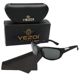 yezdi black sports wrap around sunglass with uv 400 glass lens