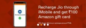 imobile jio recharge offer amazon gift card