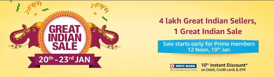 Amazon Great Indian Sale 20 Jan - 23 Jan