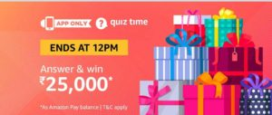Amazon Quiz win Rs 25000