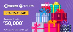 Amazon Quiz Today Answer and win Rs 50000 Free Amazon Pay Balance