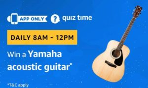 Amazon Quiz Today Answer and win Yamaha acoustic guitar