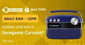 Amazon Quiz Today Answer and win a saregama carvaan
