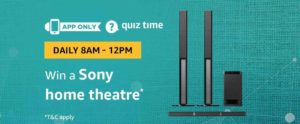 Amazon Quiz Today Win a Sony Home Theatre