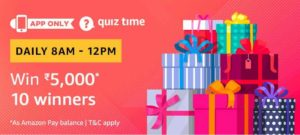 Amazon Quiz answer and win Rs 5000