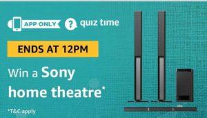 Amazon Quiz answer and win a sony home theatre