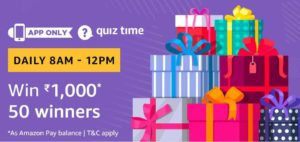 Amazon Quiz today answer and win Rs 1000