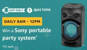 Amazon Quiz today answer and win sony portable party system