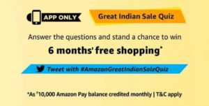 Great Indian Sale Quiz Today Answer and win 6 months free shopping