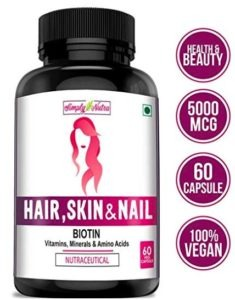 Simply Nutra Biotin 5,000 MCG for Hair Growth, Glowing Skin and Strong Nails
