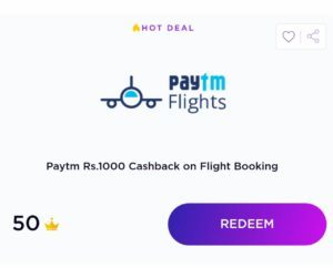 Timepoints paytm flight offer
