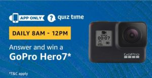Amazon Quiz Answer and win GoPro Hero 7 today