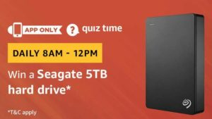 Amazon Quiz Today Answer win Seagate 5TB hard drive