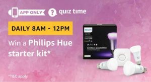 Amazon Quiz today win a Philips Hue Starter Kit