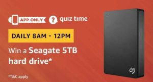 Amazon Quiz today win a seagate 5tb hard drive