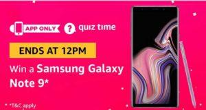 Amazon quiz today win a samsung galaxy note 9