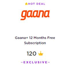 Gaana Plus 1 year free subscription