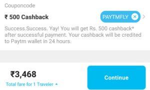 Paytm flight offer paytmfly cashback