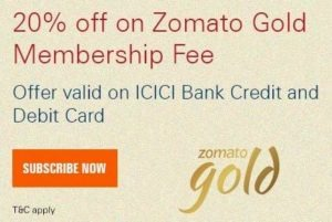 20% instant off on zomato gold membership ICICI