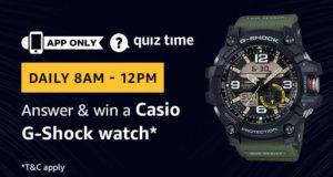 Amazon Quiz Answer win Casio G-Shock watch