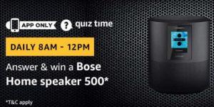 Amazon Quiz Today answer win bose home speaker 500