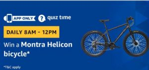 Amazon Quiz today win montra helicon bicycle