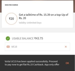 Freecharge UC15 offer