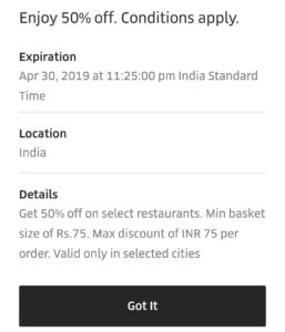 Uber EPICMEALS terms