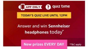 amazon quiz today win sennheiser headphones