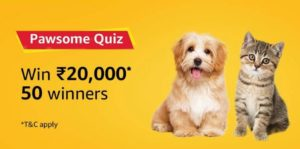 Amazon Pawsome Quiz Answer Win Rs 20000