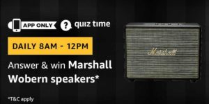 Amazon Quiz Answers Today Win Marshall Wobern Speakers