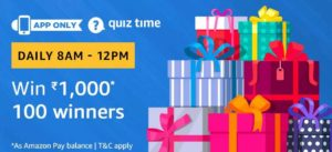 Amazon Quiz answer win Rs 1000