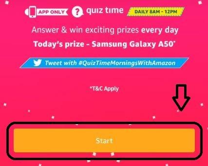 Amazon Quiz start Quiz Banner