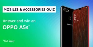 Amazon Summer Sale Mobile Accessories Quiz Answer Win Oppo A5s