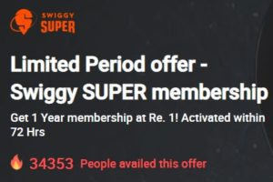 Swiggy SUPER membership Rs 1 times prime