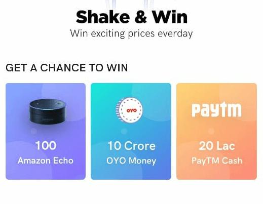 Oyo Shake and win prizes