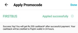 Paytm bus offer firstbus 200rs cashback