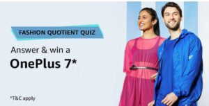 Amazon Fashion Quotient Quiz Answers Win OnePlus 7