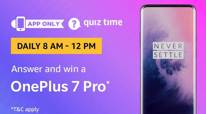 Amazon-Quiz-Answers-Today-win-OnePlus7-Pro