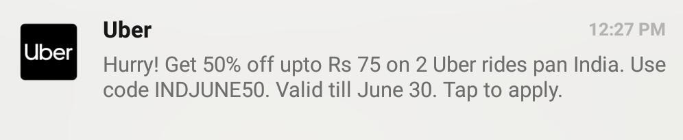 Uber 50% off upto Rs 75 INDJUNE50