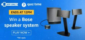 Amazon Quiz Answers Today Win Bose speaker system