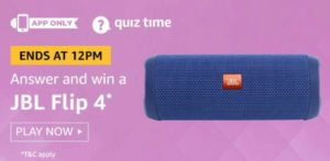 Amazon Quiz Today Answers Win JBL Flip 4