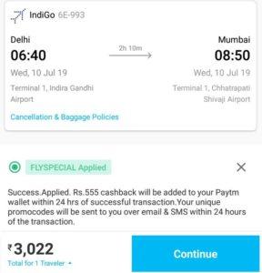 Paytm FLYSPECIAL save Rs 555 cashback