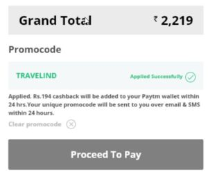 Paytm TRAVELIND promo code proof