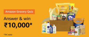 Amazon Grocery Quiz Answers Win Rs 10000