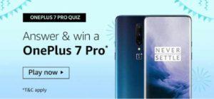 Amazon OnePlus 7 Pro Quiz Win OnePlus 7 Pro