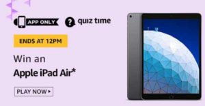 Amazon Quiz Answers Today Win Apple iPad Air