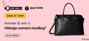 Amazon Quiz Answers Today Win Hidesign women handbag
