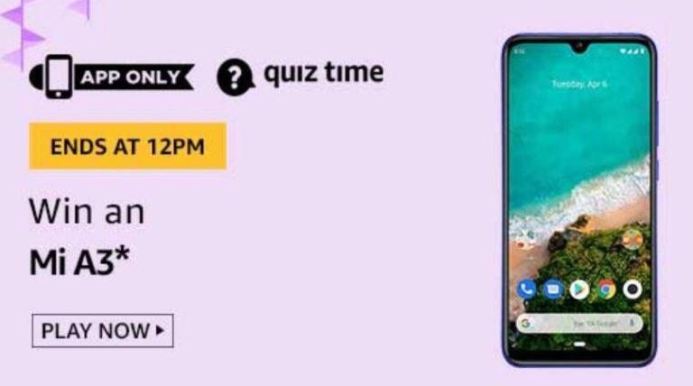 Amazon Quiz Answers Today Win Mi A3