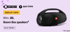 Amazon Quiz Today Answers Win JBL Boom Box Speakers